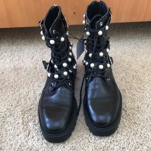 New! Zara size 41/ US 10 black lace up ankle boots